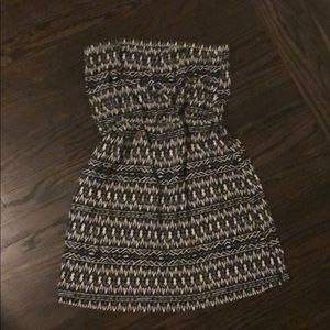 Cotton strapless tribal print dress